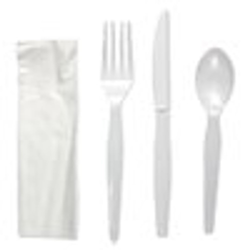 Boardwalk Four-Piece Cutlery Kit  Fork Knife Napkin Teaspoon  Heavyweight  White  250 Carton (BWKFKTNHWPSWH)