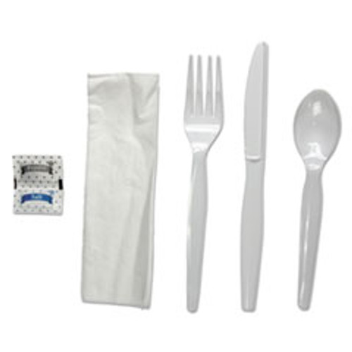 Boardwalk Six-Piece Cutlery Kit  Condiment Fork Knife Napkin Spoon  Heavyweight  White  250 Carton (BWKFKTNSHWPSWH)