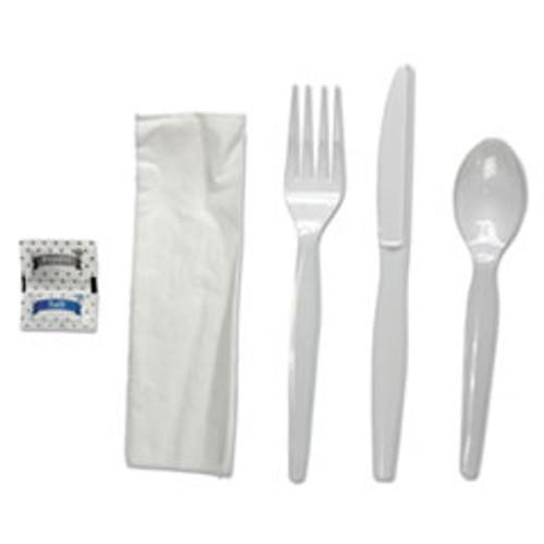 Boardwalk Six-Piece Cutlery Kit  Condiment Fork Knife Napkin Spoon  Heavyweight  White  250 Carton (BWKFKTNSHWPSWH)