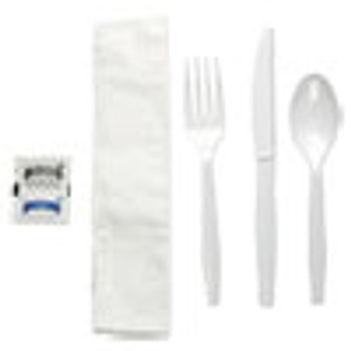 Boardwalk Six-Piece Cutlery Kit  Condiment Fork Knife Napkin Teaspoon  White  250 Carton (BWKFKTNSMWPSWH)