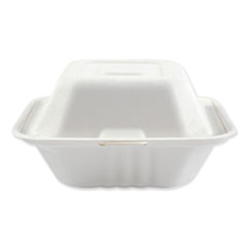 Boardwalk Bagasse Molded Fiber Food Containers  Hinged-Lid  1-Compartment 6 x 6  White  125 Sleeve  4 Sleeves Carton (BWKHINGEWF1CM6)