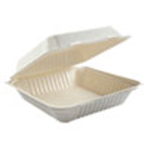 Boardwalk Bagasse Molded Fiber Food Containers  Hinged-Lid  1-Compartment 9 x 9  White  100 Sleeve  2 Sleeves Carton (BWKHINGEWF1CM9)