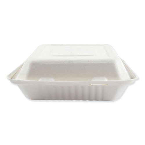 Boardwalk Bagasse Molded Fiber Food Containers  Hinged-Lid  3-Compartment 9 x 9  White  100 Sleeve  2 Sleeves Carton (BWKHINGEWF3CM9)