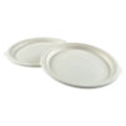Boardwalk Bagasse Molded Fiber Dinnerware  Plate  10  Diameter  White  500 Carton (BWKPLATEWF10)