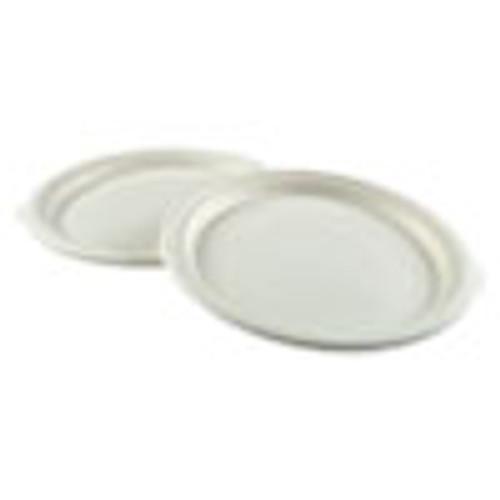 Boardwalk Bagasse Molded Fiber Dinnerware  Plate  10  Diameter  White  500 Carton (BWKPLATEWF10)