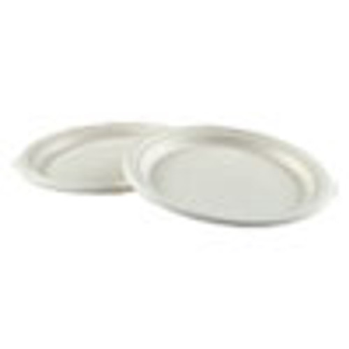 Boardwalk Bagasse Molded Fiber Dinnerware  Plate  9  Diameter  White  500 Carton (BWKPLATEWF9)
