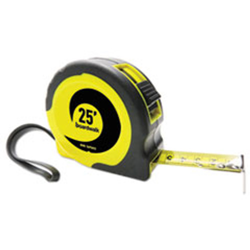 Boardwalk Easy Grip Tape Measure  25 ft  Plastic Case  Black and Yellow  1 16  Graduations (BWKTAPEM25)
