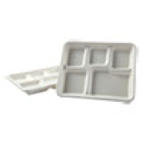 Boardwalk Bagasse Molded Fiber Dinnerware  5-Compartment Tray  8 x 12  White  500 Carton (BWKTRAYWF128)