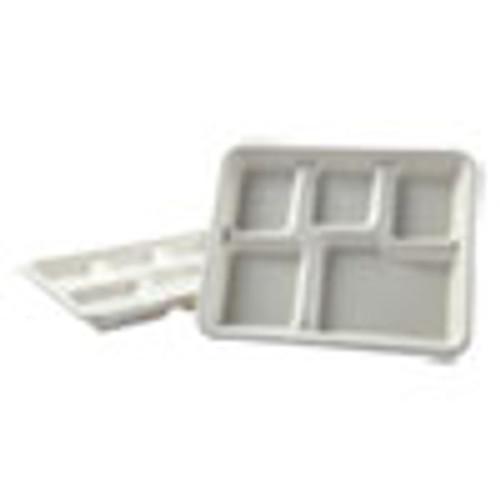 Boardwalk Bagasse Molded Fiber Dinnerware  5-Compartment Tray  8 x 12  White  500 Carton (BWKTRAYWF128)