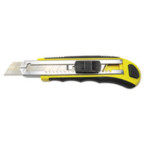 Boardwalk Rubber-Gripped Retractable Snap Blade Knife  Straight-Edged  Black Yellow (BWKUKNIFE25)