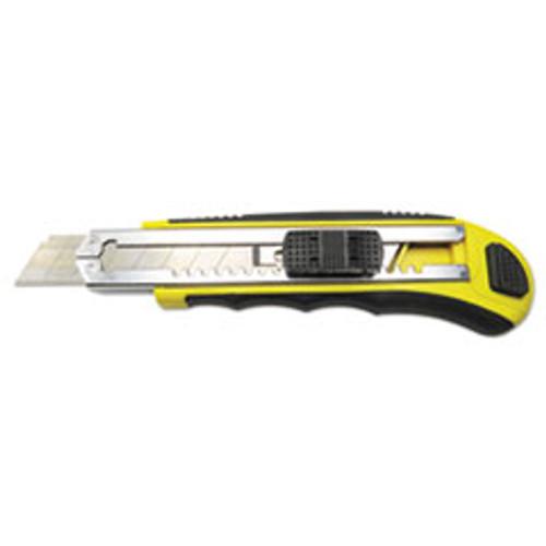 Boardwalk Rubber-Gripped Retractable Snap Blade Knife  Straight-Edged  Black Yellow (BWKUKNIFE25)