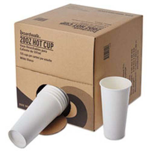 Boardwalk Convenience Pack Paper Hot Cups  20 oz  White  9 Cups Sleeve  15 Sleeves Carton (BWKWHT20HCUPOP)