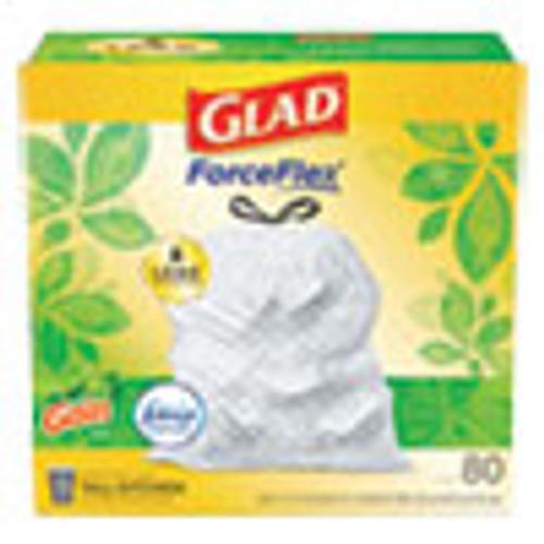 Glad OdorShield Tall Kitchen Drawstring Bags  13 gal  0 95 mil  24  x 27 38   White  80 Box (CLO78900BX)