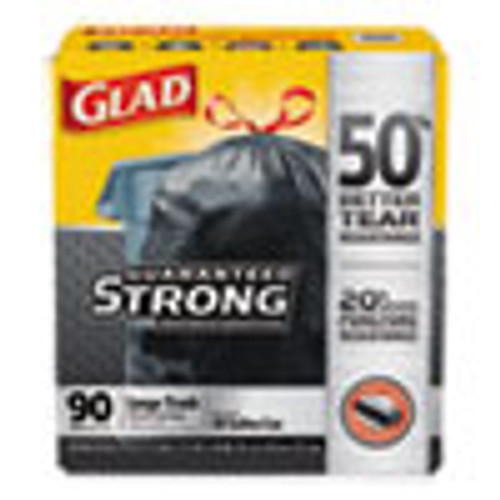 Glad Drawstring Large Trash Bags  30 gal  1 05 mil  30  x 33   Black  90 Carton (CLO78952)