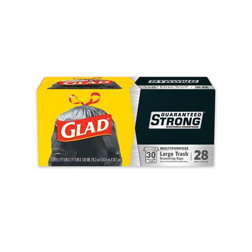 Glad Drawstring Large Trash Bags  30 gal  1 05 mil  30  x 33   Black  90 Carton (CLO78966)