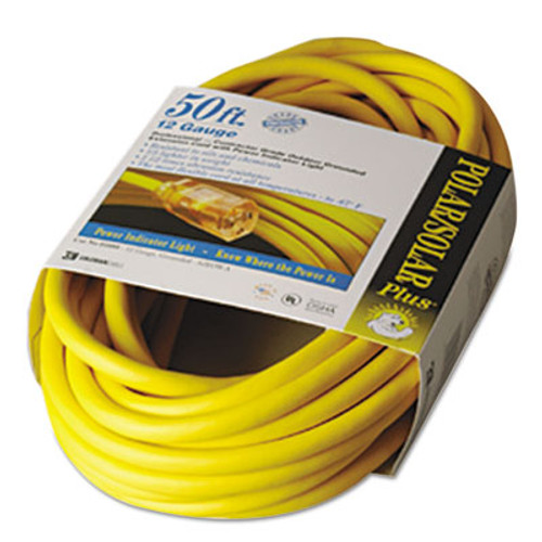 CCI Polar Solar Indoor-Outdoor Extension Cord With Lighted End  50ft  Yellow (COC01688)
