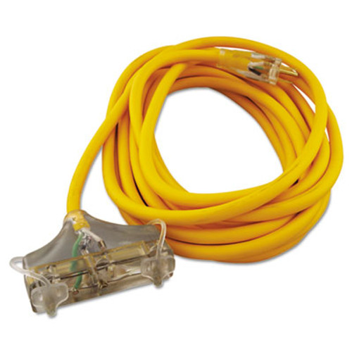 CCI Polar Solar Outdoor Extension Cord  25ft  Three-Outlets  Yellow (COC03487)