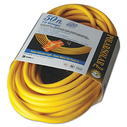 CCI Polar Solar Outdoor Extension Cord  50ft  Three-Outlets  Yellow (COC03488)