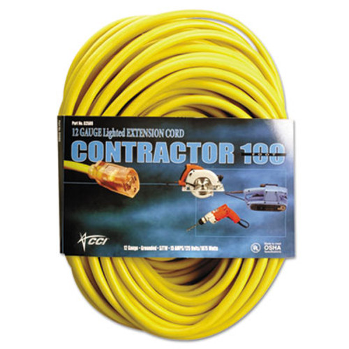 CCI Vinyl Outdoor Extension Cord  100 Ft  15 Amp  Yellow (COC25890002)