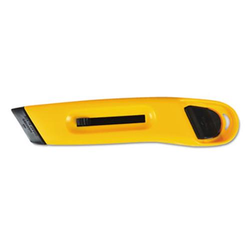 COSCO Plastic Utility Knife w Retractable Blade   Snap Closure  Yellow (COS091467)
