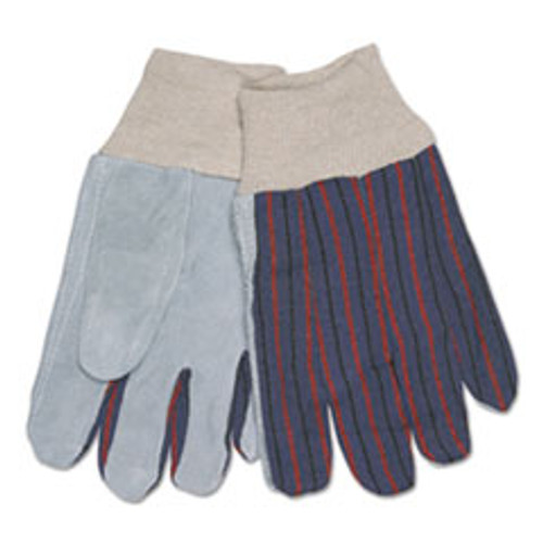 MCR Safety 1040 Leather Palm Glove  Gray White  Large  Dozen (CRW1040)