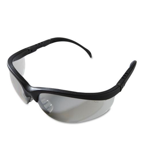 MCR Safety Klondike Safety Glasses  Black Matte Frame  Clear Mirror Lens (CRWKD119)