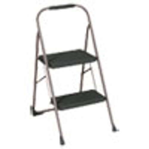 Cosco Big Step Folding Stool  2-Step  200 lb Capacity  22  Spread  Black Gray (CSC11308PBL1E)