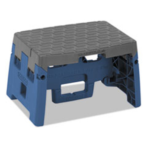 Cosco Folding Step Stool  1-Step  300 lb Capacity  8 5  Working Height  Blue Gray (CSC11903BGR1E)