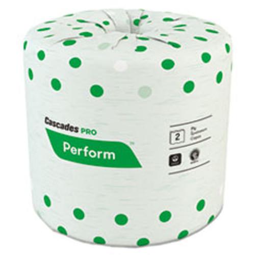 Cascades PRO Perform Standard Bathroom Tissue  Septic Safe  2-Ply  White  4 x 3 1 2  336 Sheets Roll  48 Rolls Carton (CSDB340)
