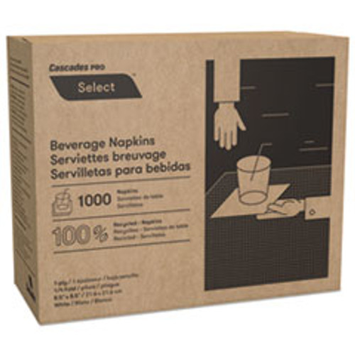 Cascades PRO Select Beverage Napkins  1 Ply  8 1 2 x 8 1 2  White  1000 PK  4000 Carton (CSDN010)