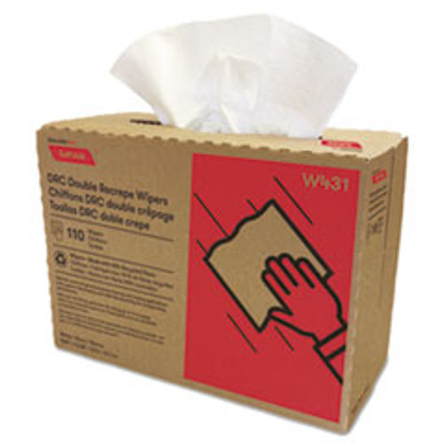 Cascades PRO Tuff-Job Double Recrepe Wipers  9 1 4 x 12 1 2  White  110 Box  12 Box Carton (CSDW431)