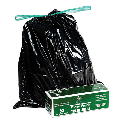 Poopy Pouch Heavy Duty Trash Liners  13 gal  1 5 mil  27 5  x 29   Black  50 Box (CWDPP13GALBAGS)