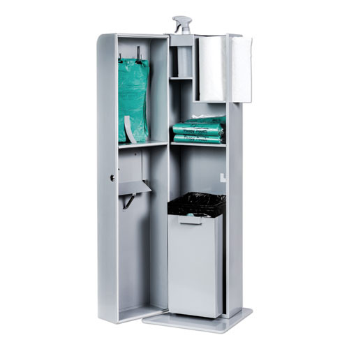 Poopy Pouch Indoor Pet Sanitation Station  15 5 x 16 x 51  Silver Metallic (CWDPPINDOOR)