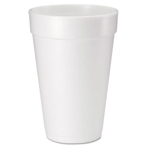 Dart Foam Drink Cups  16 oz  White  20 Bag  25 Bags Carton (DCC16J165)
