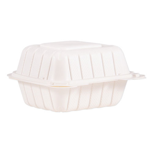 ProPlanet by Dart Hinged Lid Containers  6  x 6 3  x 3 3   White  400 Carton (DCC60MFPPHT1)