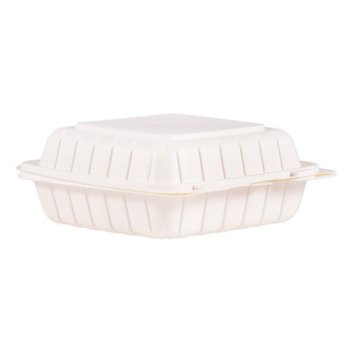 ProPlanet by Dart Hinged Lid Single Compartment Containers  8 3  x 8  x 3   White  150 Carton (DCC85MFPPHT1)