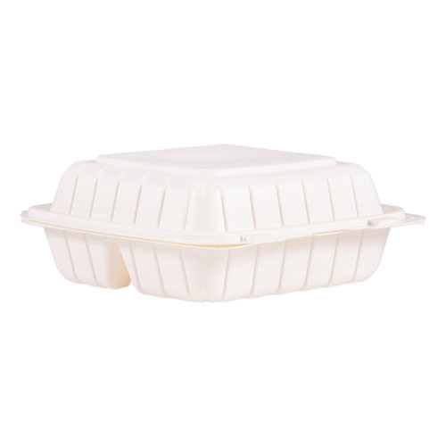 ProPlanet by Dart Hinged Lid Three Compartment Containers  8 3  x 8  x 3   White  150 Carton (DCC85MFPPHT3)