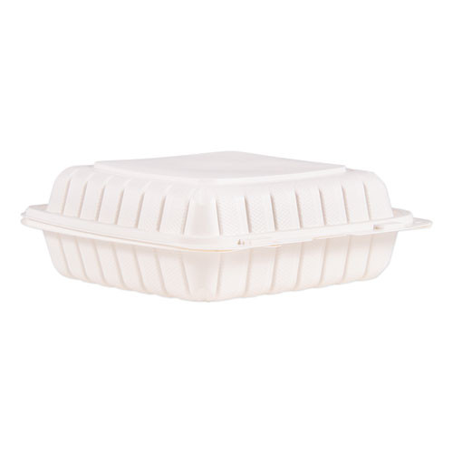 ProPlanet by Dart Hinged Lid Single Compartment Containers  9  x 8 8  x 3   White  150 Carton (DCC90MFPPHT1)