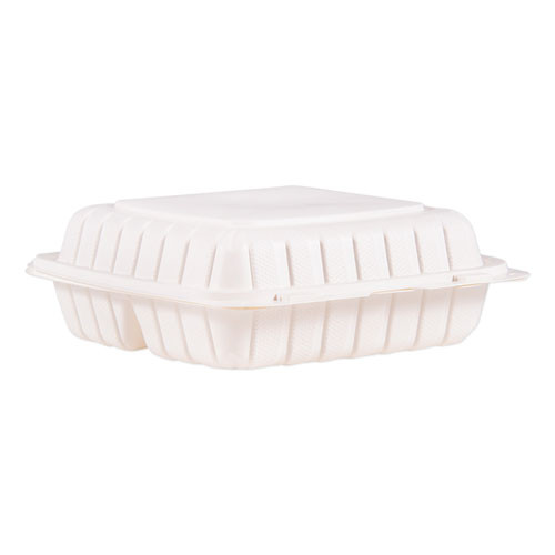 ProPlanet by Dart Hinged Lid Three Compartment Containers  9  x 8 8  x 3   White  150 Carton (DCC90MFPPHT3)