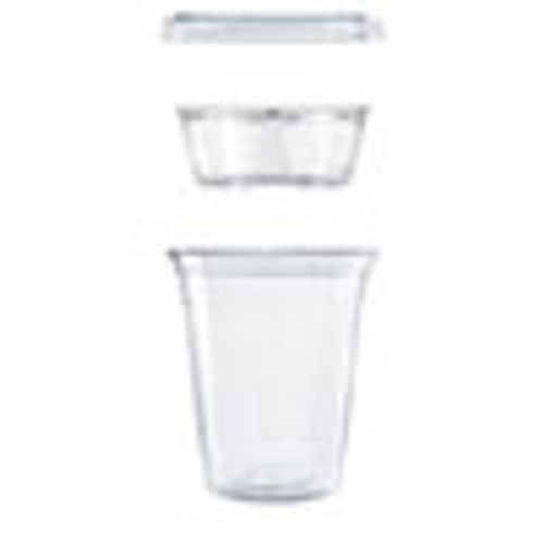 Dart Clear PET Cups with Single Compartment Insert  12 oz  Clear  500 Carton (DCCPF35C1CP)