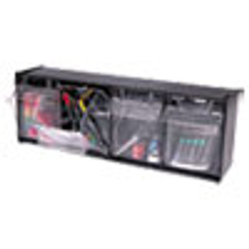 deflecto Tilt Bin Interlocking 4-Bin Organizer  23 5 8 x 6 5 8 x 8 1 8  Black Clear (DEF20404OP)