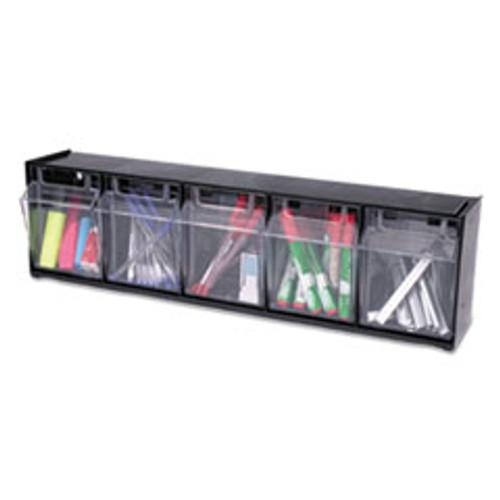 deflecto Tilt Bin Interlocking 5-Bin Organizer  23 5 8 x 5 1 4 x 6 1 2  Black Clear (DEF20504OP)