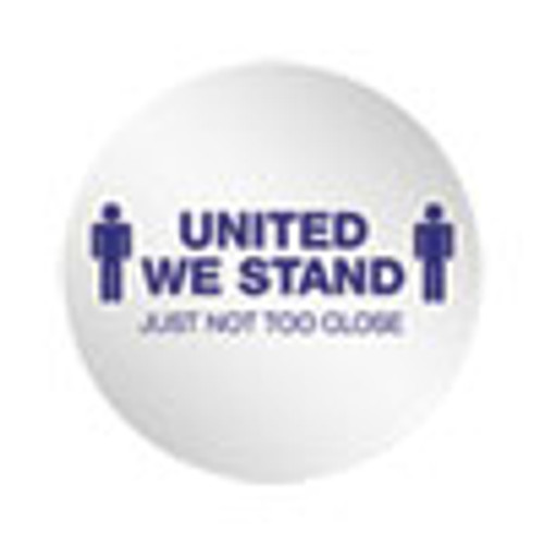 deflecto Personal Spacing Discs  United We Stand  20  dia  White Blue  50 Carton (DEFPSDD20UWS50)