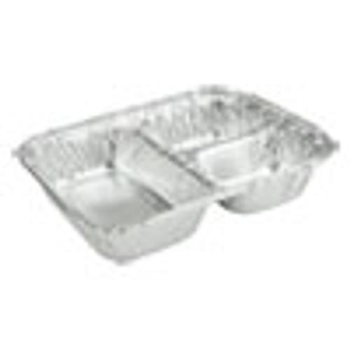 Durable Packaging 3-Compartment Oblong Aluminum Foil Container  23 oz  6 56 x 8 69 x 1 81  500 Carton (DPK2103050X)