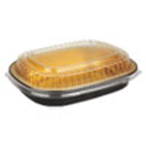Durable Packaging Aluminum Closeable Containers  23 oz  6 25 x 1 25 x 4 38  Black Gold  100 Carton (DPK9331PT100)