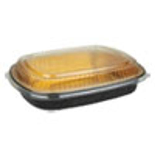 Durable Packaging Aluminum Closeable Containers  63 oz  11 25 x 1 75 x 8 88  Black Gold  50 Carton (DPK9553PT50)