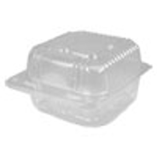 Durable Packaging Plastic Clear Hinged Containers  6 x 6  21 oz  Clear  500 Carton (DPKPXT11600)