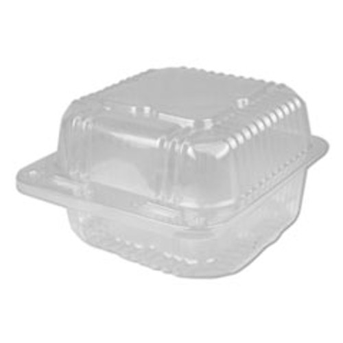 Durable Packaging Plastic Clear Hinged Containers  5 x 5  12 oz  Clear  500 Carton (DPKPXT505)