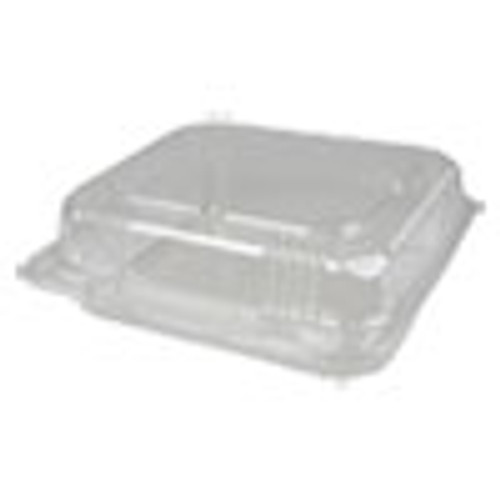 Durable Packaging Plastic Clear Hinged Containers  8 x 8  50 oz  Clear  250 Carton (DPKPXT880)