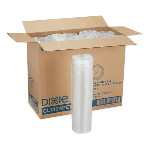 Dixie Cold Drink Cup Lids  Fits 16 oz Plastic Cold Cups  Clear  100 Sleeve  10 Sleeves Carton (DXECL1424PET)